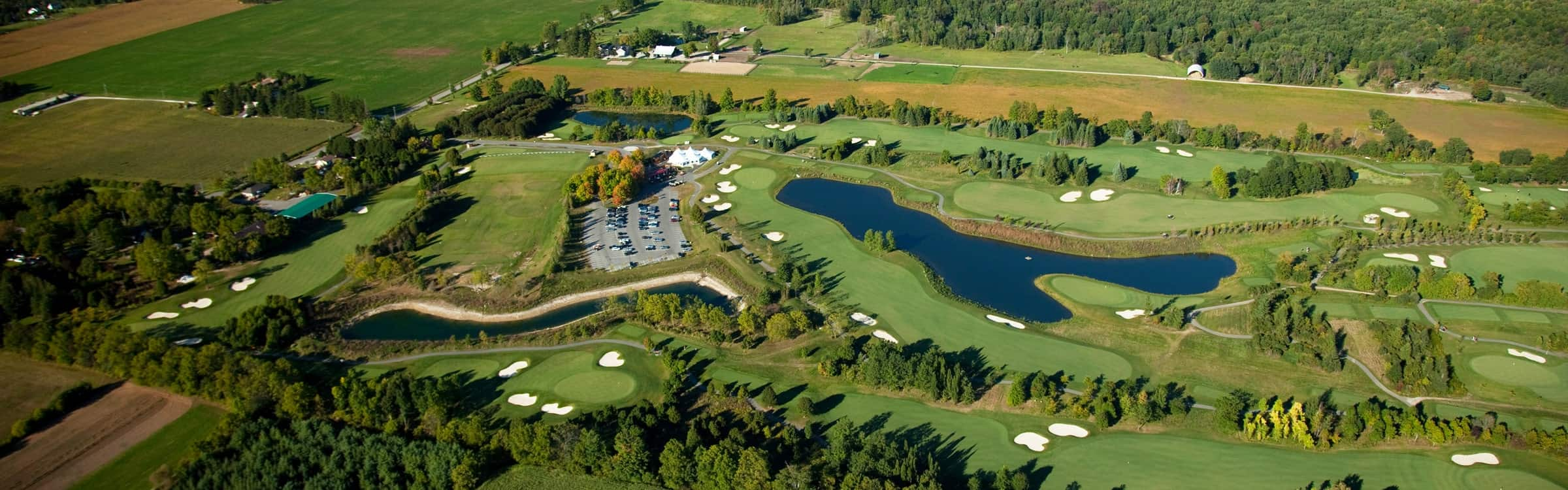 aerial view of dragon's fire golf course in hamilton, ontario